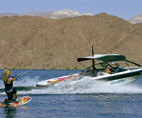 Girl Wake Boards on Lake Mohave